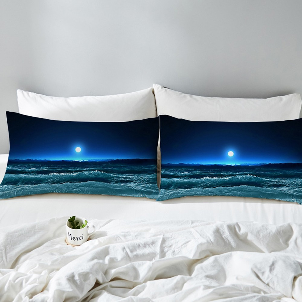 Hot 2pcs Moon Ocean Pillowcase Blue Printed <font><b>Pillow</b></font> <font><b>Case</b></font> 3D Landscape Bedding <font><b>Pillow</b></font> Cover Luxury 50x75 <font><b>50x90cm</b></font> image