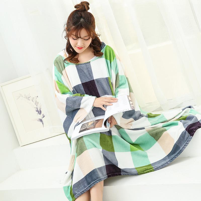 Winter Thick Sofa Comfy TV Blanket Hoodie Sweatshirt Weighted Throw Blanket Fuzzy Fleece Plaid Blanket Fleece Blanket Adult Kids 16