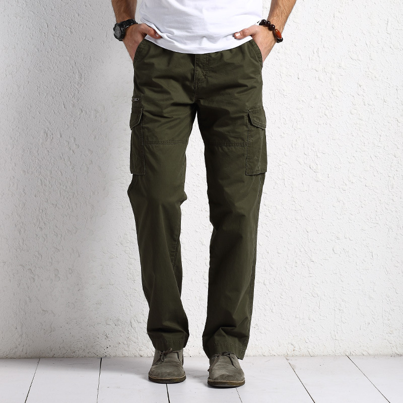 Men's Spring And Autumn Casual Pants Pure Cotton Straight-Leg Trousers Large Size Loose-Fit Workwear Pants Multi-pockets Trouser