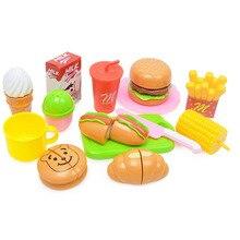 Пластиковые Гамбургер Картофель Фри Резки Игрушки Раннее Развитие И Обучение Игрушки Для Ребенка Резки Кухня Игрушки Детские Игрушки