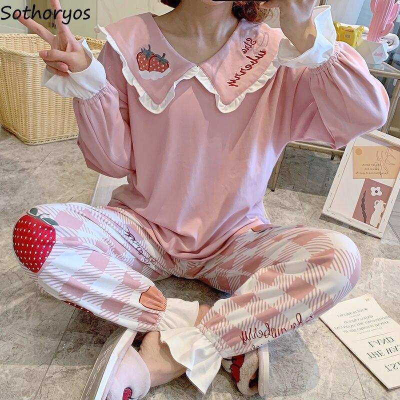 Pyjama Sets Frauen Trim Gedruckt Zerzauste Bogen Voller länge Prinzessin Nette Nachtwäsche Dame Koreanische-stil Weiche Haut-freundliche Nachtwäsche