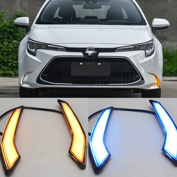 LED Daytime Running Light For Toyota Corolla L/LE/XLE US 2019 2020 Dynamic Yellow Turn Signal Waterproof ABS 12V Car DRL Lamp