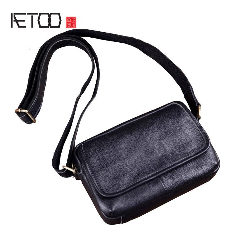 AETOO New leather mini men bag small bag casual fashion shoulder men's Messenger bag Korean leather bag