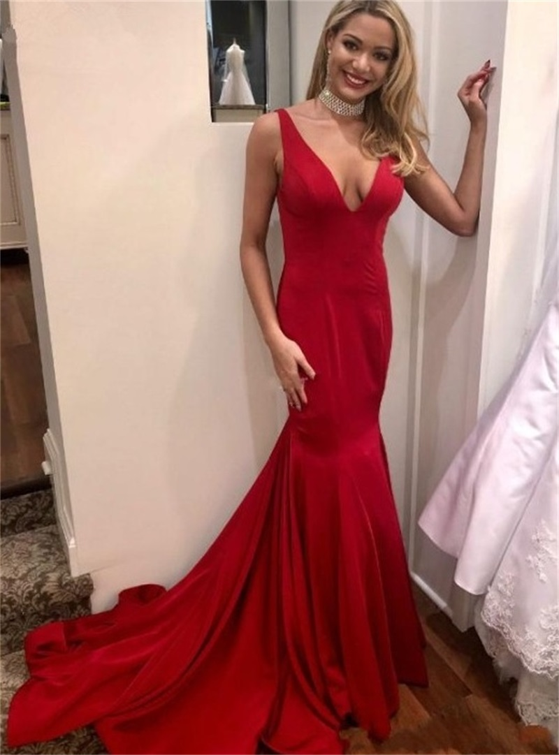 2020 Long Mermaid Evening Dresses Mermaid V-Neck Sexy Backless Formal Dresses For Party Sleeveless Prom Gowns Vestidos De Fiesta