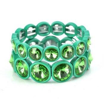 12 Color Mixed Enamel Stretch Tile Bead Cuff Bracelet Painting Big Crystal Elastic Bracelet Bangle For Women Bohemian Jewelry