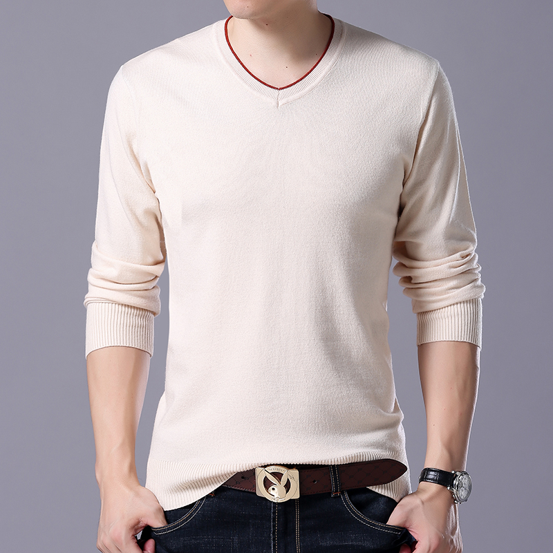 Plus Size 5XL 6XL 7XL Men's Sweater High Quality Cotton Casual Pullover Fashion Men's V-neck Slim High Stretch Pullover Sweater