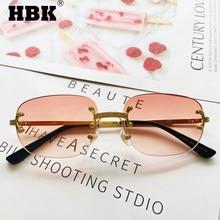 HBK – lunettes de soleil carrées sans monture pour homme et femme, rétro, monture en or, rouge clair, tendance 2020