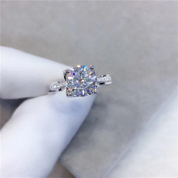 Classic Wedding Moissanite Ring 925 Sterling Silver Excellent Cut 1 Carat D Color Diamond Test Past Moissanite Rings for Women