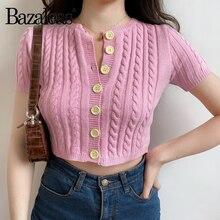 Chaqueta Casual para mujer Vintage con botones de cuello redondo harajuku de algodón rosa de mezaleas Francia