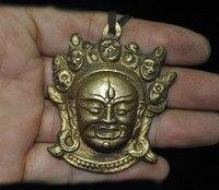 wedding decoration Tibetan Buddhism Bronze Gilt Mahakala Wrathful Deity Buddha head amulet Pendant