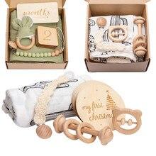 1set bebé conjunto de animales de dibujos animados de algodón manta pulsera de madera de crecimiento Memorial hitos tarjetas de nacimiento del bebé productos de regalo