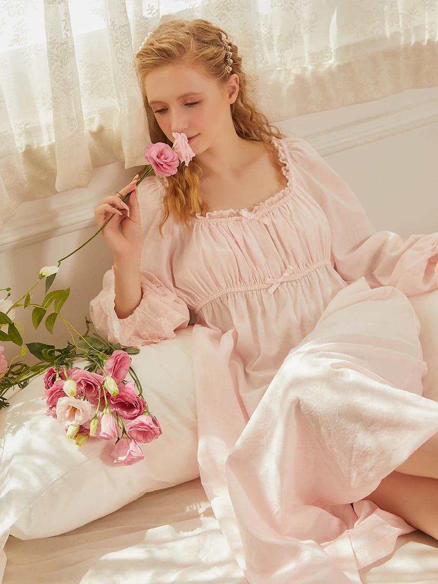 Винтажная ночная рубашка, хлопковая ночная рубашка для дам, Ночная одежда, женская одежда для сна, удобная ткань для беременных женщин