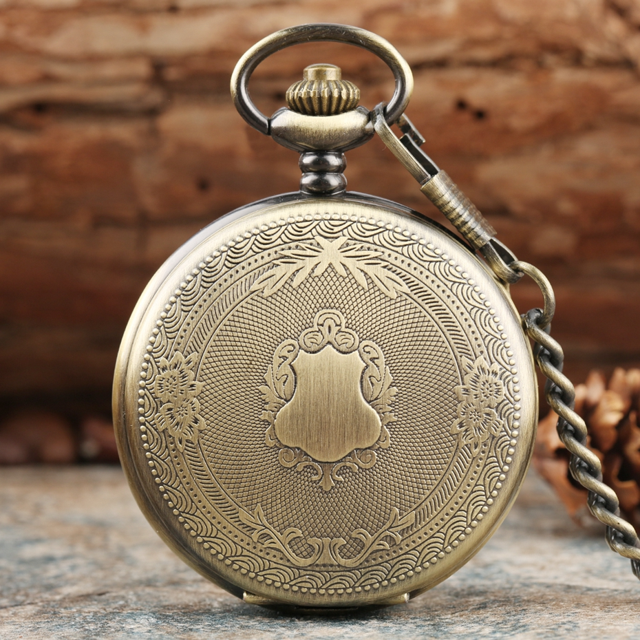 Creative Bronze/Silver/ Gold Delicate Carved Pattern Shield Quartz Pocket Watch Analog Floral Rattan Pocketwatch Reloj De Madera