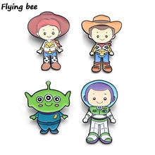 Flyingbee Funny Cartoon Cute Brooch and Pin Kids charm Enamel Pins Badges Lapel Brooches Shirt collar pin jewelry X0446