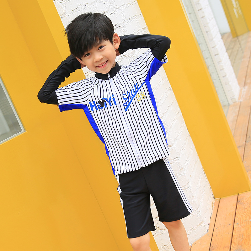Korean-style BOY'S Long Sleeve Split Type Boxer KID'S Swimwear Beach Sun Protection Clothing Long Sleeve Sports Set With Swim Ca