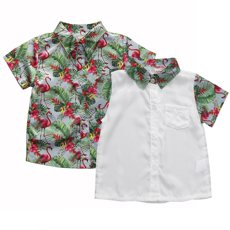 1-6T Kids Boys White Shirts for Button Down Shirt Short Sleeve Flamingo Printed