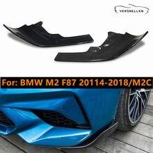 2 pçs amortecedor dianteiro divisores lábio cupwings para bmw m2 f87 2014-2018 m2c 2019 avental asas abas spoiler fibra de carbono real