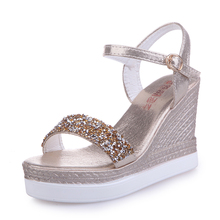 BWB New Wedge Women  Sandals Summer Bead Studded Detail Platform Sandals Buckle Strap Peep Toe Thick Bottom Casual Shoes Ladies maxmuxun women shoes comfort slip on classic high platform wedge sandals 2018 summer ladies open toe buckle strap thick shoes
