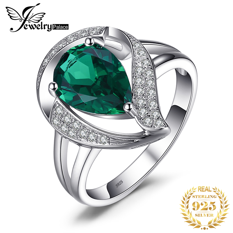 JewelryPalace 1.7ct Created Emerald Ring For Women Solid 925 Sterling Silver Jewelry Wedding Charm Ring Gift For Girls 2018 New