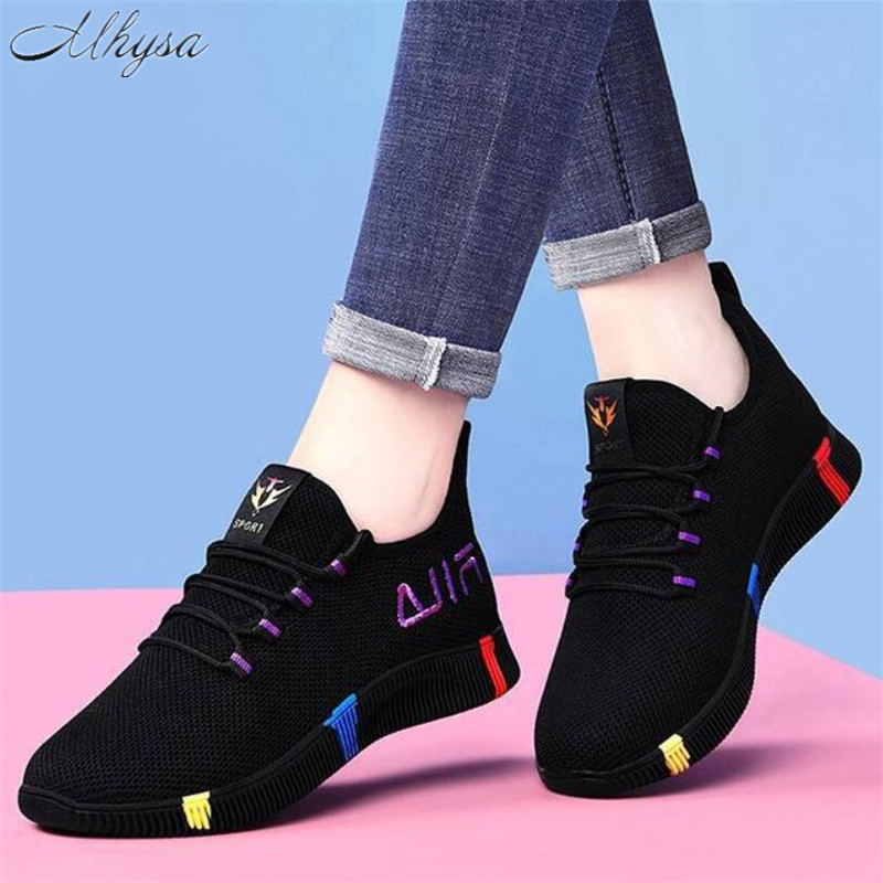 Tenis Shoes Woman 2020 New Spring Fashion Women Casual Shoes Black Breathable Mesh Platform Sneakers Feminino Zapatos De Mujer
