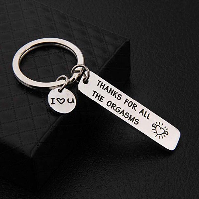 Смешные Пары, брелок с гравировкой, спасибо за все оргазмы, кольцо для ключей из нержавеющей стали для парня, девушки, мужа, жены, подарок
