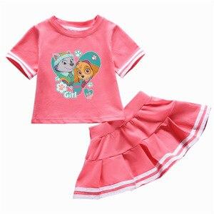 Image 3 - Подлинная детская одежда из м/ф «Щенячий патруль», детская одежда, летняя хлопковая футболка из двух предметов с круглым вырезом и юбкой