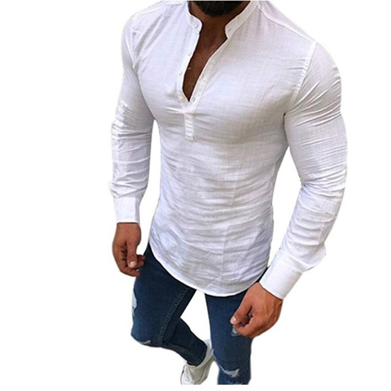 New Men Cotton Long Sleeves Blouse Summer Fashion Casual  Slim Fit Tees Tops Male Breathable Linen Shirt