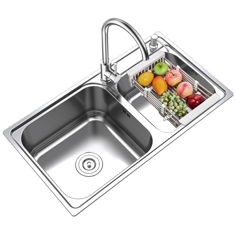 Kitchen Sink Basins 304 Stainless Steel Kitchen Sink Double Trough Wash Bowl Tub Basins Suits Faucet Double Bowl Sink