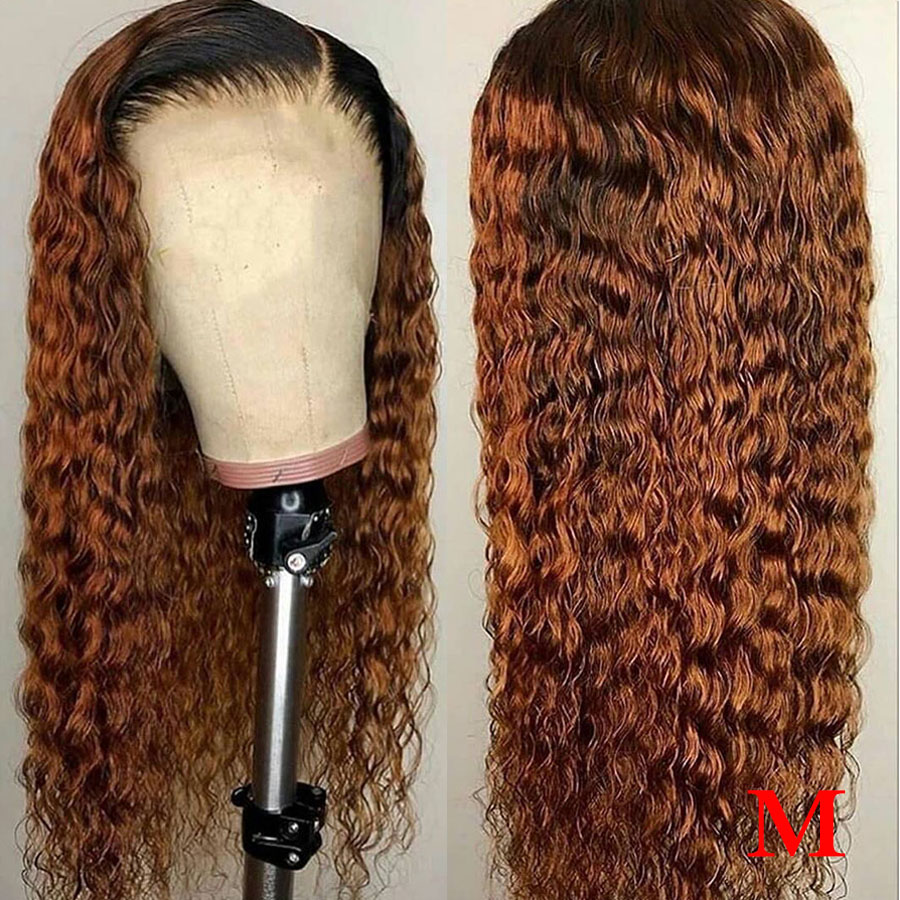 1b/27 Colored Human Hair Wigs Honey Blonde Lace Front Human Hair Wigs Remy Water Wave 360 Lace Frontal Wig Brazilian Ombre Wigs