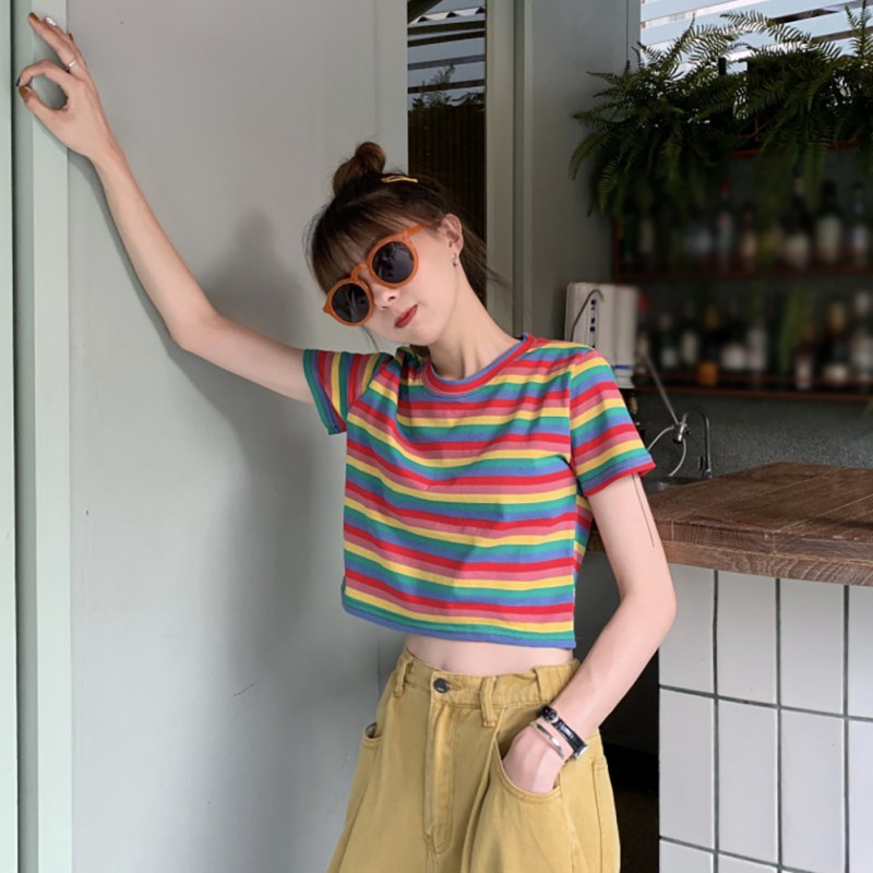 2019 New Summer Women 39 s T Shirt Fashion Casual Style Round Neck Rainbow Striped Tees Short Sleeve T Shirt Top Slim Women T Shirt in T Shirts from Women 39 s Clothing