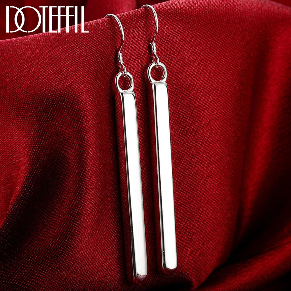 DOTEFFIL 100% 925 Sterling Silver Square Pillar Drop Earrings Female Fashion Jewelry Women Lady Christmas Gift Free Shipping