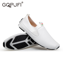 GQPJFL Fashion Men Shoes Black And White Casual Shoes Waterproof PU Leather Footwear Solid Color Loafers hommes chaussures stylish solid colour and pu leather design men s casual shoes