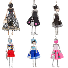 HOCOLE Cute Doll Necklaces For Women Fashion Long Chain Girls Kids Crystal Dress Bag Pendant Necklace Accessories Jewelry