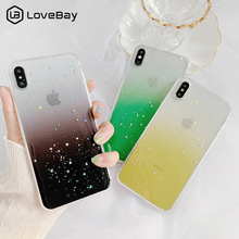 Lovebay Gradient Color Bling Glitter Star Phone Cases For iphone 6 6S 7 8 Plus XS Max XR X Sequins Paillette Clear Soft Case