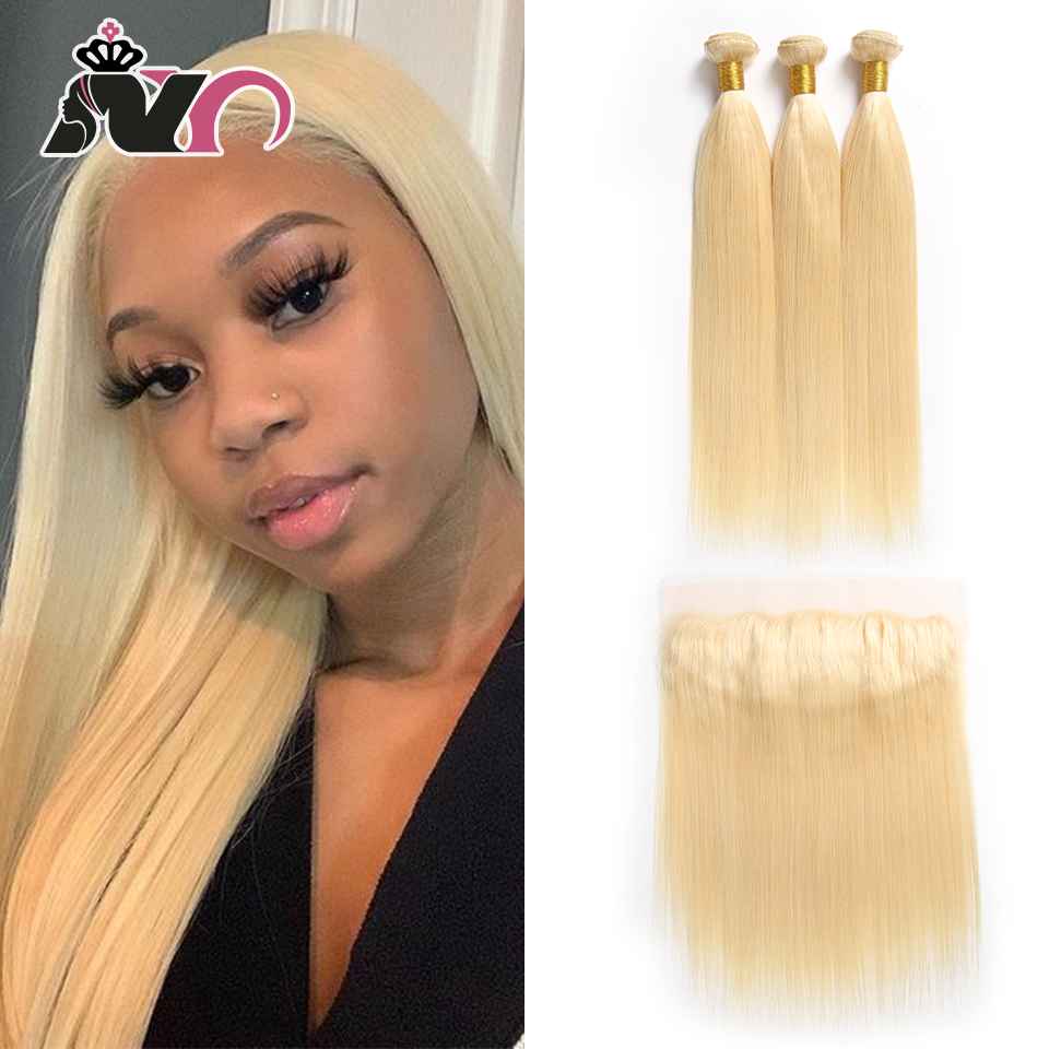 NY Hair 613 Ombre 3 Bundles With 13*4 Frontal Ear to ear Peruvian Straight Frontal Blonde 100% Human Hair Lace Closure