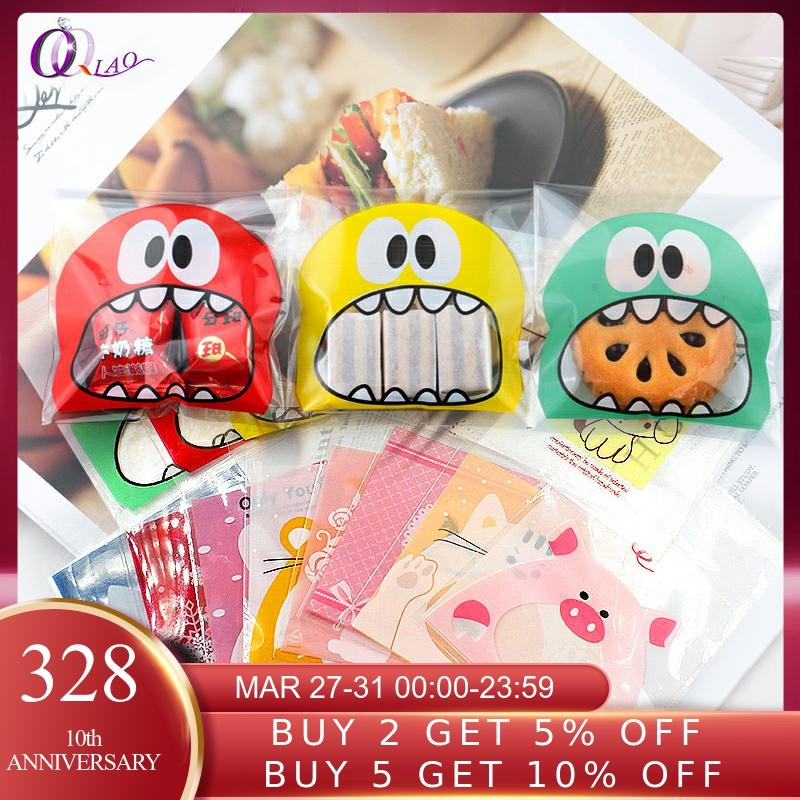 100pcs Cookie Candy Bag Cute Cartoon Self-adhesive Plastic Packing Bag For Biscuit Gift Food Packing,Baking Package