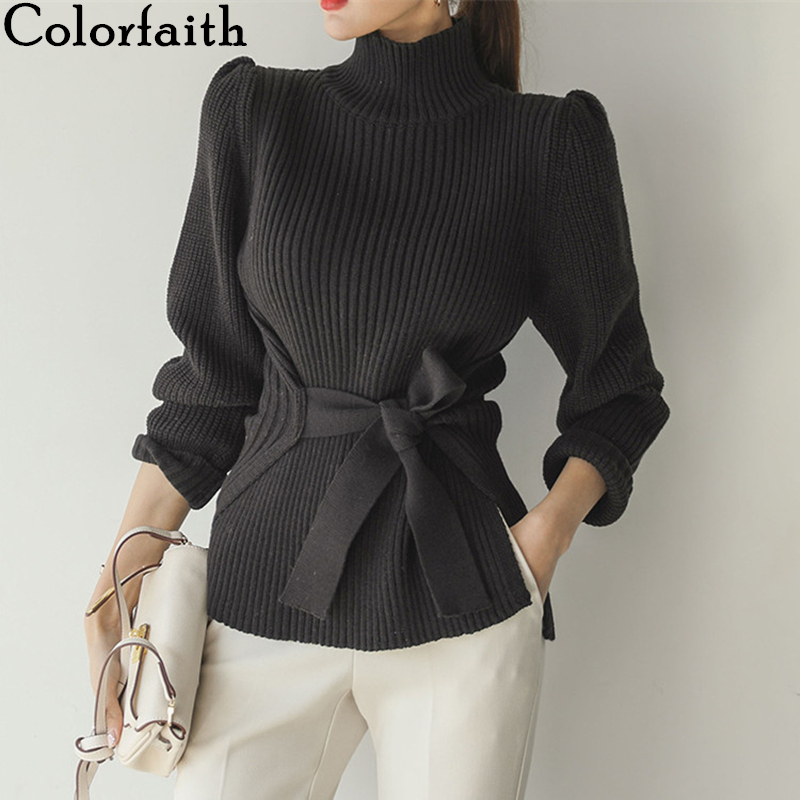 Colorfaith New 2019 Autumn Winter Women's Sweaters Fashionable Casual Minimalist Elegant Tops Turtleneck Knitting Lace Up SW180