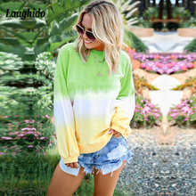 Laughido Plus Size Tie Dyeing Print Sweatshirts Long Sleeve Autumn Casual Hoodies Workout Sportwear Tops Loose Pullover Hooded