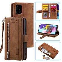 Funda tipo billetera con cremallera para Samsung Galaxy A52 5G 2021 A72, carcasa con tapa de 9 tarjetas para Galaxy A12 A32 A51 A71 A50S A 72 12 52 A32 5G