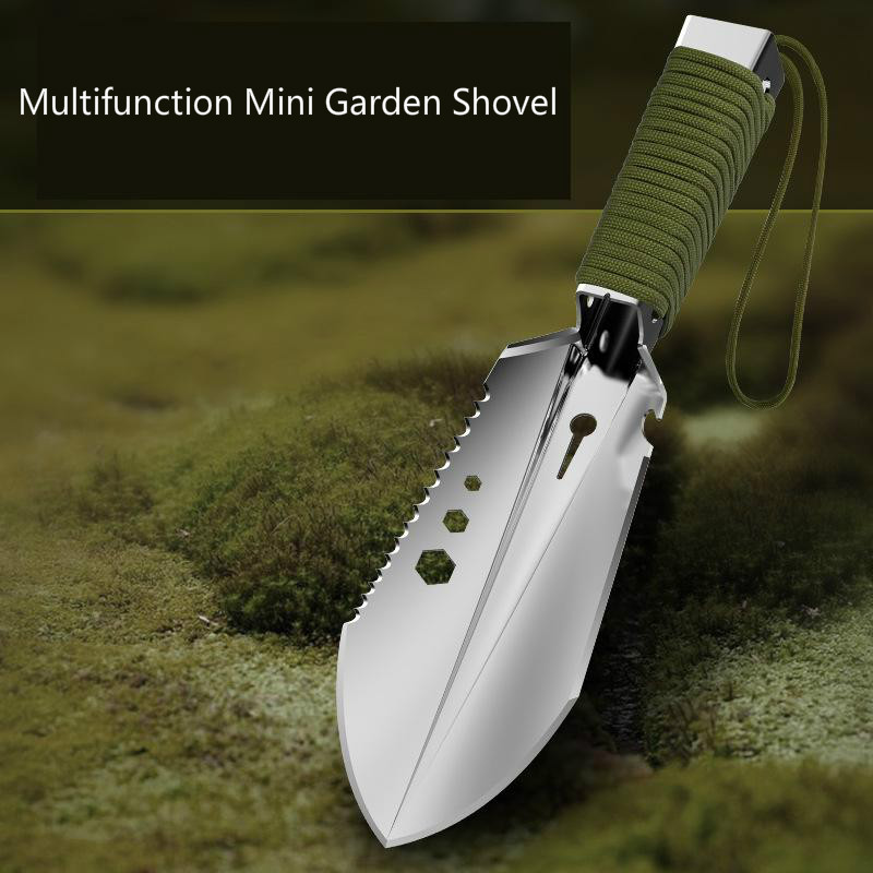 Mini Stainless Steel Garden Shovel Spade Multi Tool Weeder With Sawtooth Hex Wrench Ruler Digging Trowel Knife Spear Garden