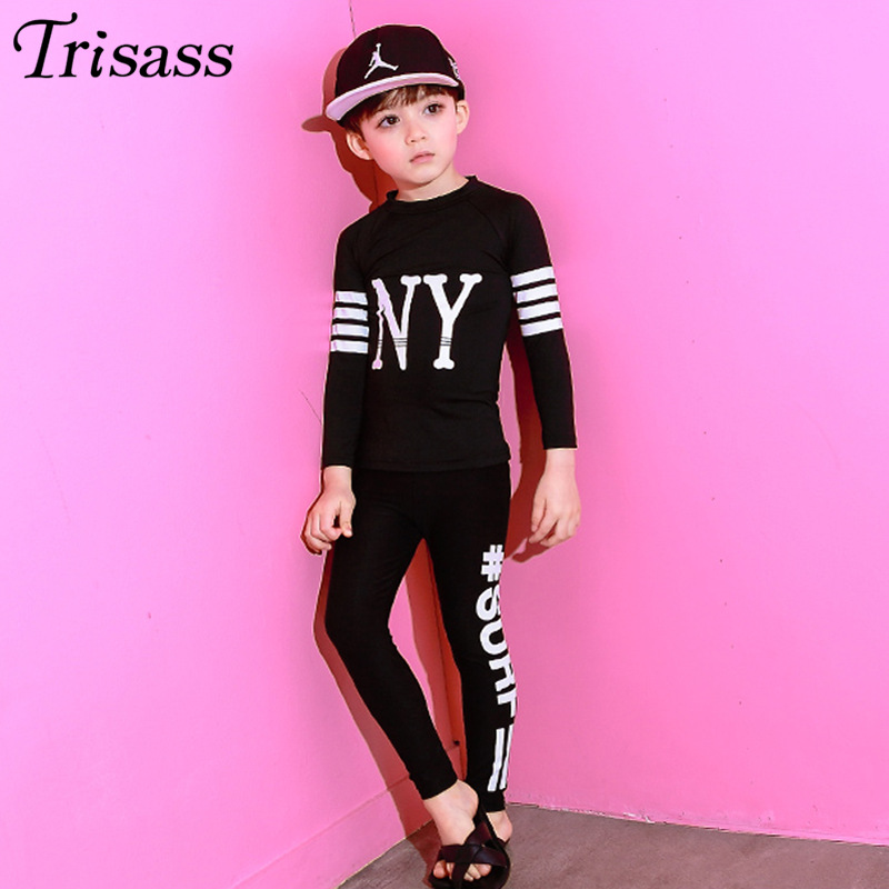 Trisass Korean-style Printed Letter BOY'S Tour Bathing Suit Long Sleeve Trousers Split Type KID'S Swimwear Sun-resistant Surfing