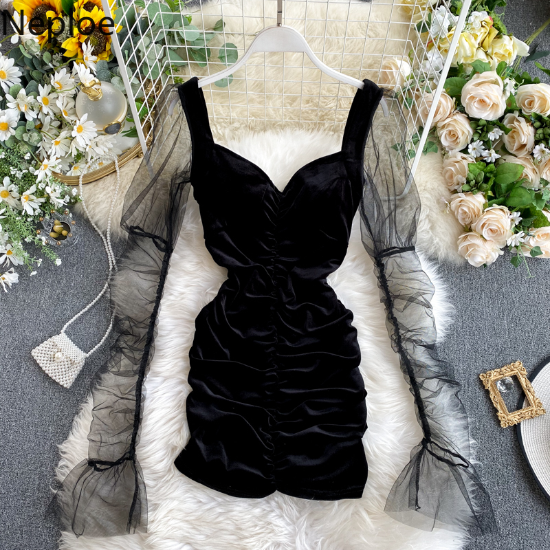 Neploe Retro Velet Mesh Pacthwork Women Dress Elegant V Neck Flare Long Sleeve Vestidos Fashion High Waist Bodycon Dresses 80856