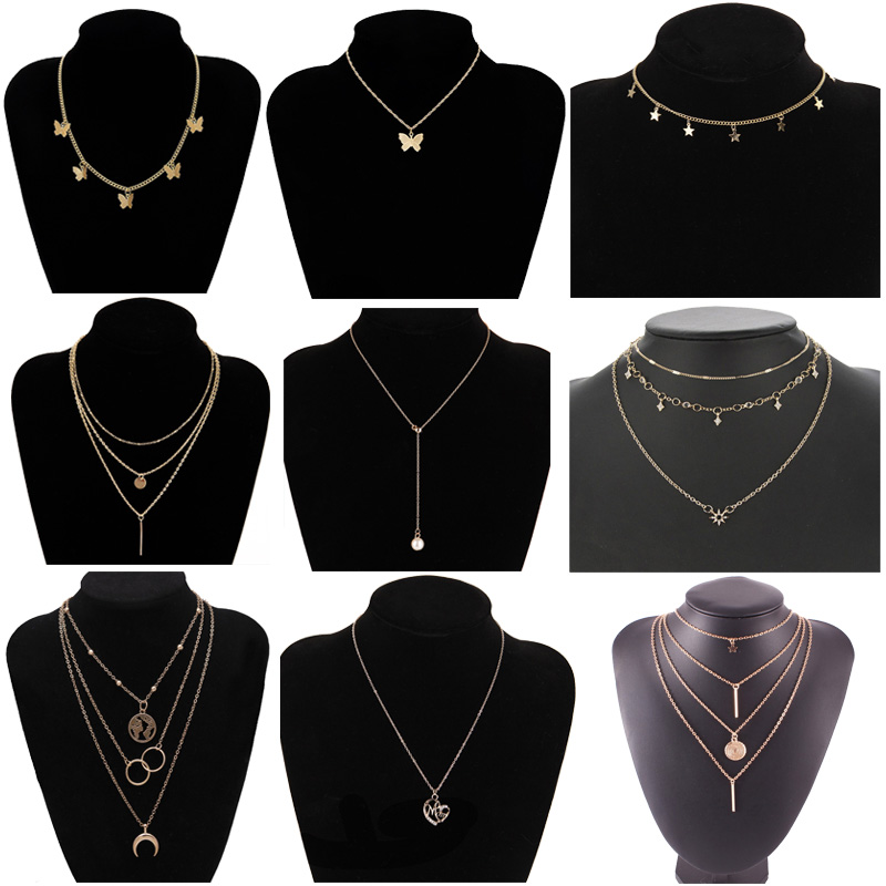 Lots Boho Multilayer Crystal Necklaces For Women Trendy Gold Silver Choker Vintage Moon Star Butterfly Pendant Necklace Jewelry