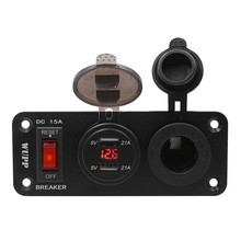 Two Holes Dual USB Charger Combination Switch Panel Voltmeter Socket w/ automatic power-off switch diewu multifunction desktop combo power button switch w dual usb audio for computer black