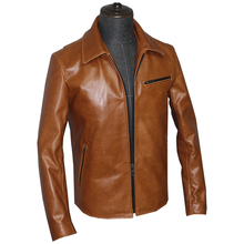 Коричневая мужская приталенная повседневная кожаная куртка большого размера XXXXXL из натуральной мягкой воловьей кожи, Осеннее короткое пальто из натуральной кожи
