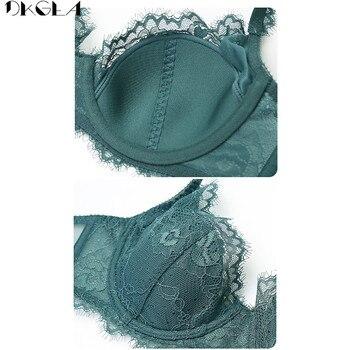 Comfortable Thin Cotton Brassiere Embroidery Bras Green Underwear Set Sexy D E Cup Plus Size Bra Set Women Lingerie Lace Black 6