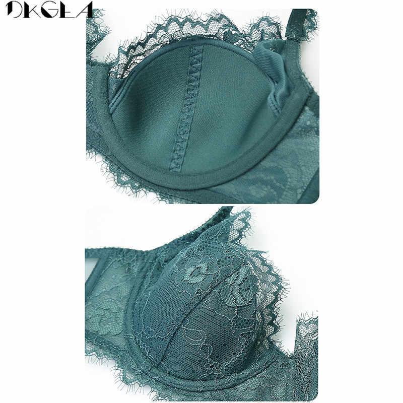 สบายผ้าฝ้ายบาง Brassiere เย็บปักถักร้อย Bras ชุดชั้นในสีเขียวชุดเซ็กซี่ D E ถ้วย PLUS ขนาดชุดชั้นในชุดชุดชั้นในสตรีชุดชั้นในสีดำ