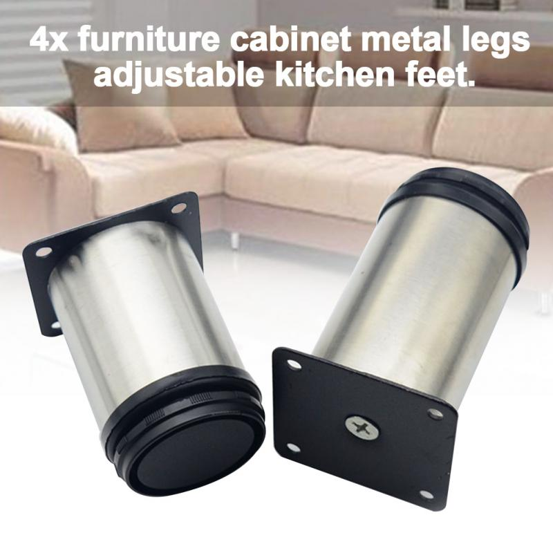4pcs Stainless Steel Hardware Solid TV Desk House Cabinet Table Feet Bed Foot Round Adjustable Furniture Legs Sofa Multifunction
