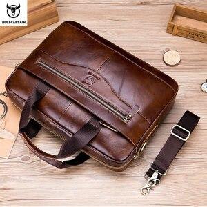 Image 2 - BULLCAPTAIN new fashion cowhide mens business briefcase / leather retro mens crossbody bag / casual business bag / handb