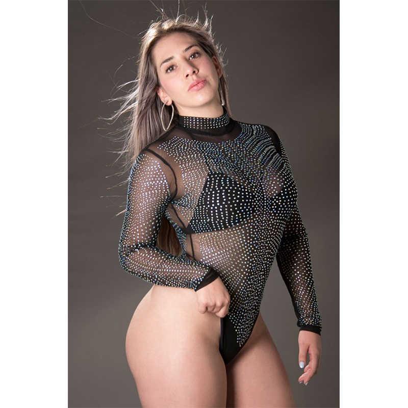 SEBOWEL Сексуальная черная сетка Серебристые шипы боди для женщин со стразами прозрачные комбинезоны Прозрачная сетка женский комбинезон боди